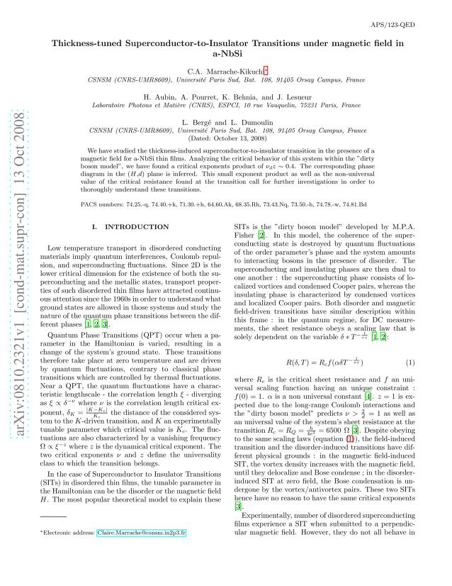 C. A. Marrache-Kikuchi - Thickness-tuned Superconductor-to-Insulator Transitions under magnetic field in a-NbSi