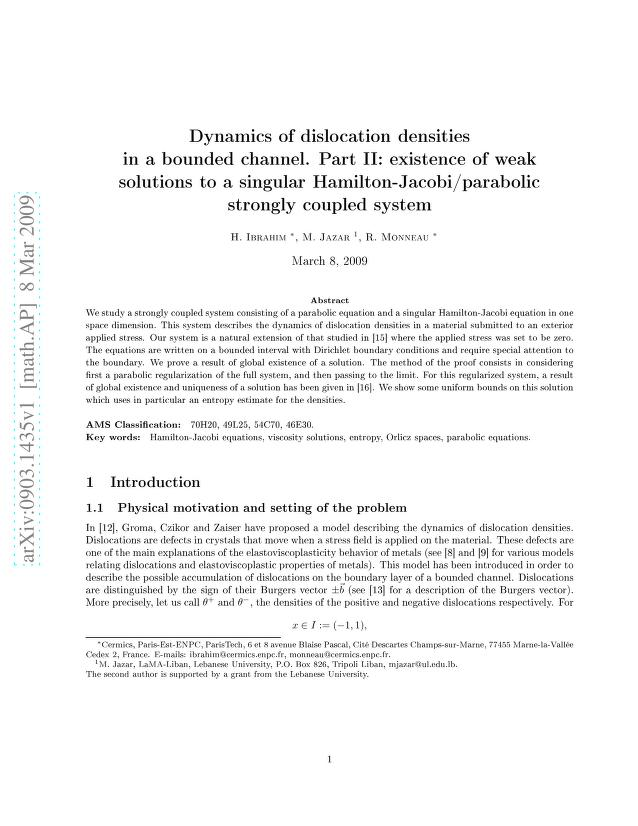 H. Ibrahim - Dynamics of dislocation densities in a bounded channel. Part II: existence of weak solutions to a singular Hamilton-Jacobi/parabolic strongly coupled system