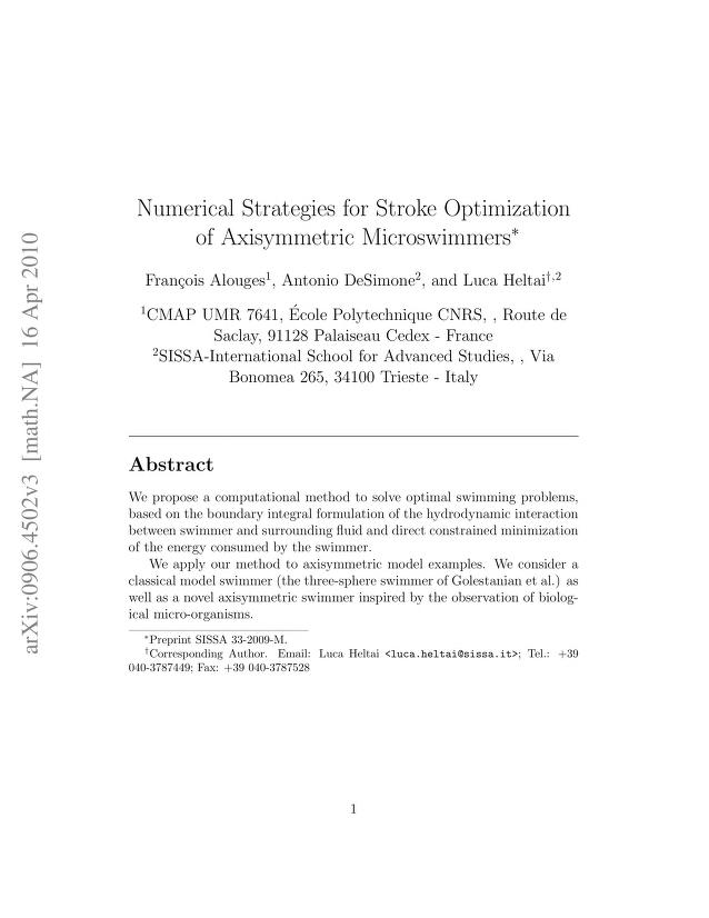 François Alouges - Numerical Strategies for Stroke Optimization of Axisymmetric Microswimmers
