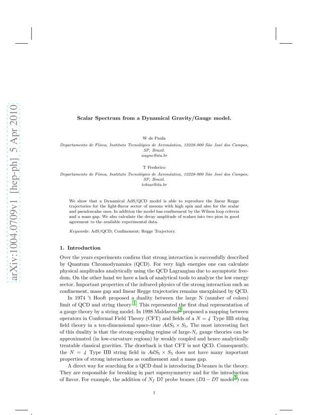 W. de Paula - Scalar Spectrum from a Dynamical Gravity/Gauge model