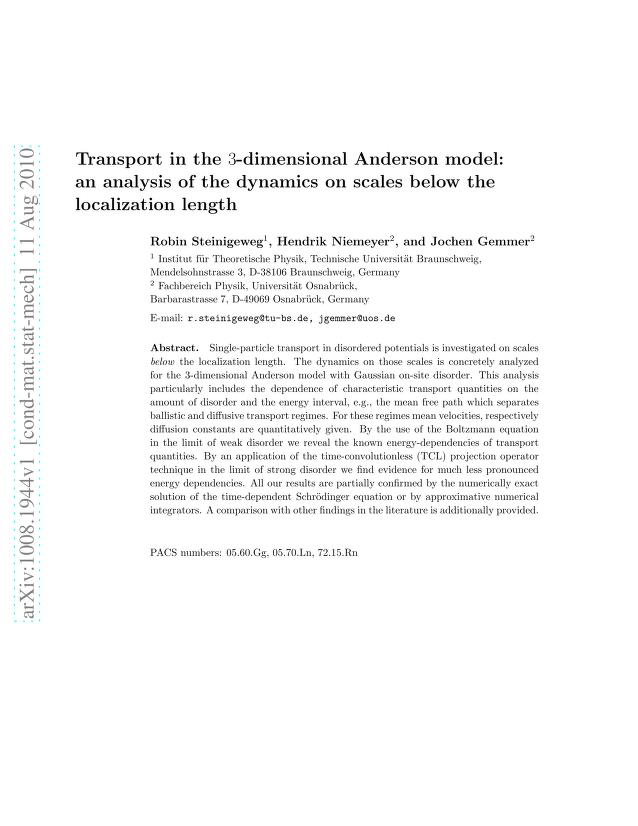 Robin Steinigeweg - Transport in the 3-dimensional Anderson model: an analysis of the dynamics on scales below the localization length