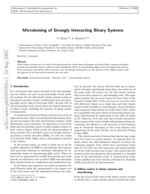 V. Bozza - Microlensing of strongly interacting binary systems