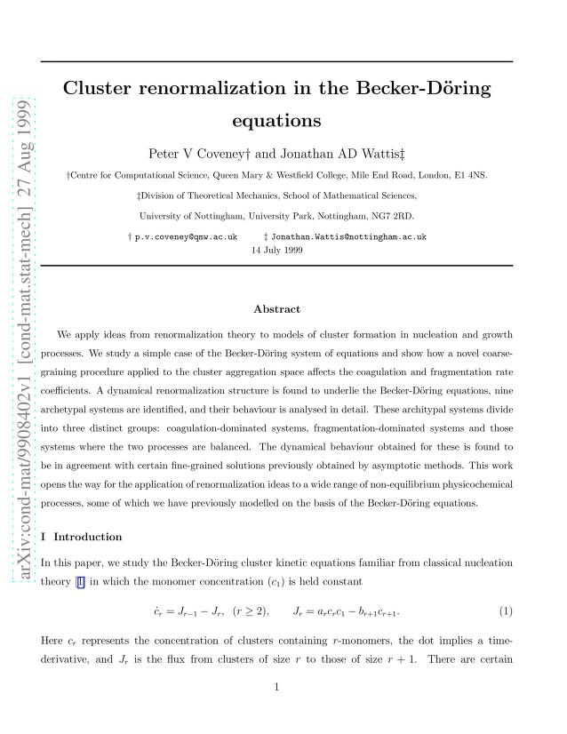Peter V. Coveney - Cluster renormalization in the Becker-Doring equations
